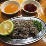 魚虎 - 和牛生センマイ刺 780円