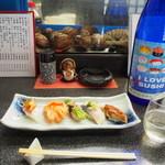 和幸寿司 - 料理写真:にぎり5貫おまかせ & 冷酒(I LOVE SUSHI)