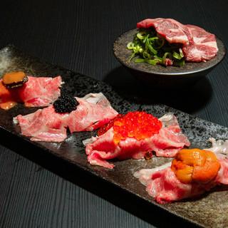 利尻昆布と自家製特製黒酢を使ったシャリ<肉寿司>