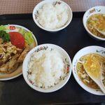 餃子の王将 - 料理写真:S油淋鶏・ライス(小)・Sスープ