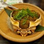 泳ぎイカ 北海道知床漁場 - カニ甲羅の詰め焼き