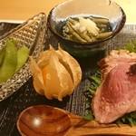 109048335 - 先附:じゅんさいの酢の物、枝豆、食用ほおずき、合鴨の実山椒乗せ