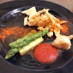 ビストロ felice - 3種の前菜(富山産白エビのフリット)
