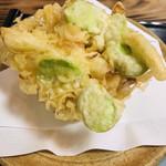 木挽庵 - 海老と玉ねぎ、そら豆のかき揚げ
