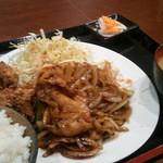 かぼちゃ  - 生姜焼き&鶏の唐揚げ定食