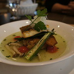 P's レストラン - 焼津産真鯛のアクアパッツアボルチーニ茸の焼きリゾット添え
