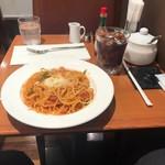 小野珈琲 - ナポリタン(570円)とアイスコーヒー(470円)