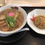 麺家 口熊野食堂 - 魚◯ラーメン、チャーシュートッピング 半チャーハンセット