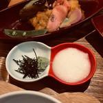 109154602 - 刻み海苔、とろろ、真鯛の金ぷらと京生麩ゆず揚げ出汁