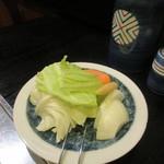 肉料理 阿蘇 - 最初に焼野菜が用意されます