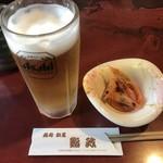 鮨政 - 生ビール=500円  税別 お通しはサービス