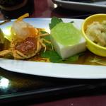 わたらせ温泉 ホテルやまゆり - 青梅甘露煮、大根なます、沢蟹唐揚げ、帆立マヨネーズ和え