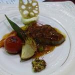 わたらせ温泉 ホテルやまゆり - 牛フィレ肉、夏野菜のステーキ