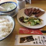 牛たん炭焼き 利久 - 牛たん定食(3枚6切) 1480円(税込1598円) (2019.5)