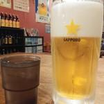 楽楽一番 - ドリンク写真:生ビールは黒ラベルの大通常700円が何故か380円