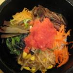 10924685 - 焼肉と石釜・冷麺のよくばりセット【明太子石釜ビビンパ】(ハーフ)