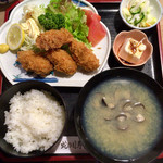 蛇の目寿司 - 「カキフライ定食」@1100+「しじみ汁」@330