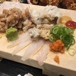 UO魚 KOBE海鮮酒場 - 刺身3種盛り アジのなめろう、カワハギ、鱧湯引き