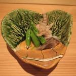 饗庵大乃 - 有機野菜のお浸し        鳥貝 勝男節