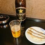 なごみ - ビール(大)  500円    めざし  150円