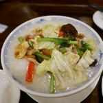 中国料理 甜甜酒楼 - 野菜と豚肉の中華粥