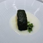 Takumi - サワラのチーズ焼き ディル風味 ハマグリとケッパー ハマグリの出汁とシェリー酒のソース セリと蕎麦茶のサラダ