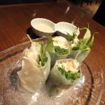 DININGみにとまと お野菜と地鶏と - 地鶏と6種の野菜の生春巻き☆