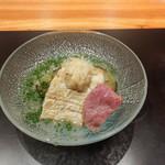 神楽坂 鉄板焼 中むら - 太刀魚のソテー賀茂茄子、しゃぶしゃぶに実山椒