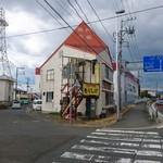 もりしげ - お店。右側国道4号線。南から北を望む。