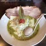 麺 藏藏 - バジルdeグリーン味噌 チーズプラス(たまご&ちゃーしゅートッピング)♪
