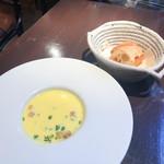 109336138 - メカジキのグリエ 海老クリームソース サラダとバターライス