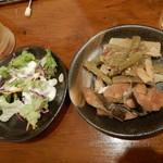 ぎょぎょうま屋 - ホッケのなんちゃらとサラダ