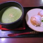 祇をん ひつじカフェ - 抹茶ミルクと一口シュークリームのセット