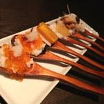 109358202 - ワンスプーン寿司 魚卵6種盛り合わせ