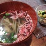 ワトト - 桜エビとワカメの中華スープ &いろいろお豆入りチョップドサラダ