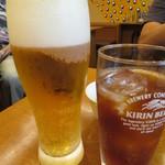 Giwommorikou - ビールとウーロン茶で乾杯