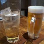 博多磯ぎよし - ビール(600円×2)、梅酒ソーダ割(700円)。梅酒は薄めでした。