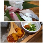 博多磯ぎよし - *太刀魚、穴子はいい味わい。ヒラスは主人が美味しいと。 *雲丹といくら・・普通に美味しい。