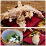 博多磯ぎよし - *甘エビの唐揚げ *小魚(何かお尋ねしたのですが聞き取れず)の南蛮漬け。 *小松菜とお豆腐の和え物