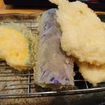 天ぷら 一修 - とり天4枚に野菜3種
