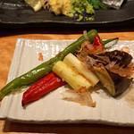 中俣酒造本店 銀座 茂助 - 焼き野菜 盛り合わせ  賀茂茄子、ホワイトアスパラ、万願寺とうがらし(赤と緑の2種)
