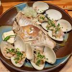 中俣酒造本店 銀座 茂助 - 甘鯛とハマグリの酒蒸