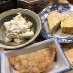 109462589 - 餃子、ポテサラ、厚焼卵