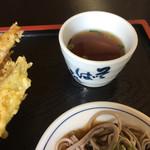 Sobadokohanayamaderashukubou - 汁物の替わりの蕎麦ツユ入りの蕎麦湯