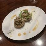 ひき肉を詰めた国産ジャンボマッシュルームのグリル