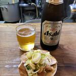 特麺コツ一丁ラーメン - 瓶ビールとおつまみ 600円