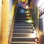 大衆酒場 文太 - 階段を上ると入口です。