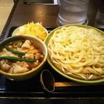 藤エ門 - 料理写真:なまず天付肉汁うどん!ボリューム感があります。
