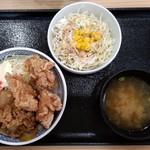 そば処 吉野家 - から牛並(ねぎだく)サラダ味噌汁セット