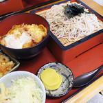 そば処 一源 - 料理写真:ランチセット(サラダ・小鉢・味噌汁付き)の天丼(小)+ざるそばセット(大盛り)750円